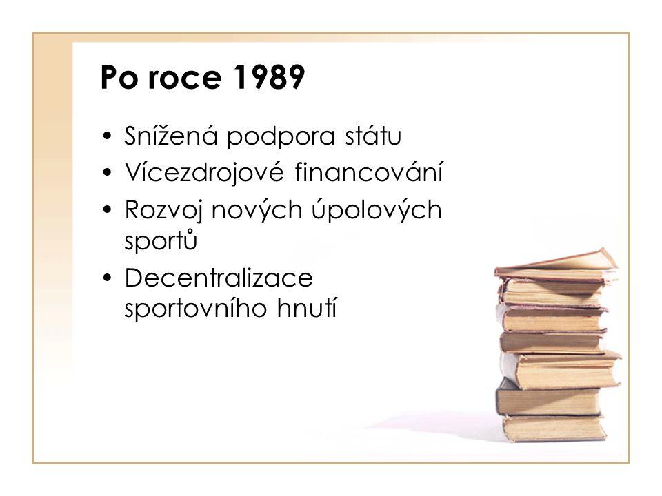 Po roce 1989 Snížená podpora státu Vícezdrojové financování Rozvoj nových úpolových sportů Decentralizace sportovního hnutí