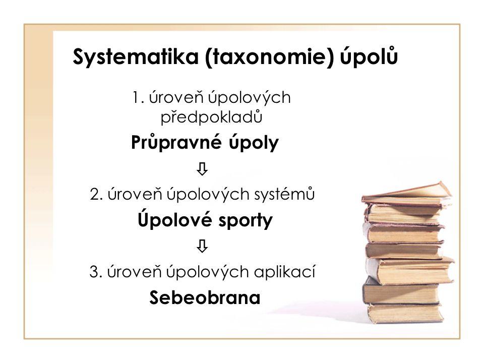 Systematika (taxonomie) úpolů 1.úroveň úpolových předpokladů Průpravné úpoly  2.