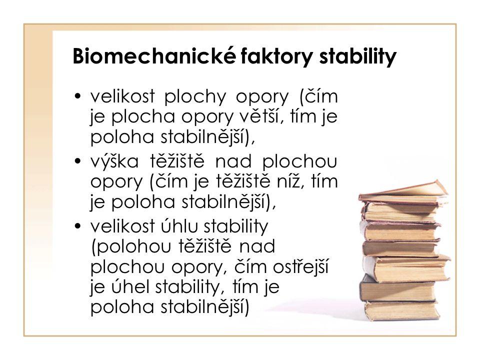 Biomechanické faktory stability velikost plochy opory (čím je plocha opory větší, tím je poloha stabilnější), výška těžiště nad plochou opory (čím je těžiště níž, tím je poloha stabilnější), velikost úhlu stability (polohou těžiště nad plochou opory, čím ostřejší je úhel stability, tím je poloha stabilnější)
