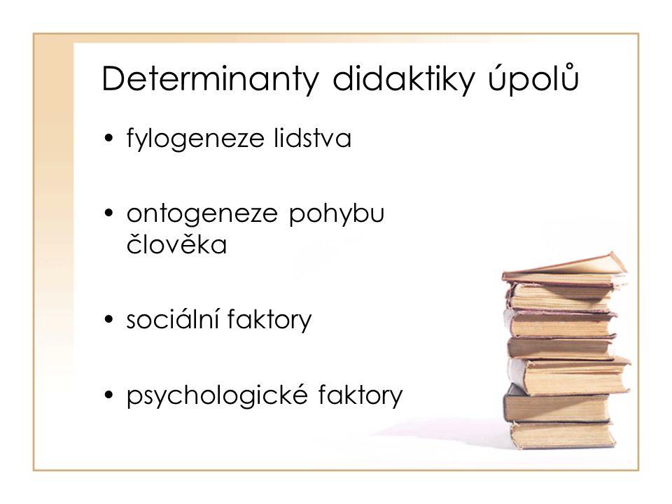 Determinanty didaktiky úpolů fylogeneze lidstva ontogeneze pohybu člověka sociální faktory psychologické faktory