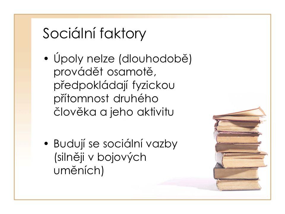 Sociální faktory Úpoly nelze (dlouhodobě) provádět osamotě, předpokládají fyzickou přítomnost druhého člověka a jeho aktivitu Budují se sociální vazby (silněji v bojových uměních)