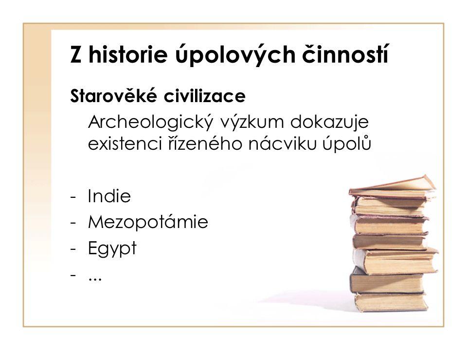 Z historie úpolových činností Starověké civilizace Archeologický výzkum dokazuje existenci řízeného nácviku úpolů -Indie -Mezopotámie -Egypt -...