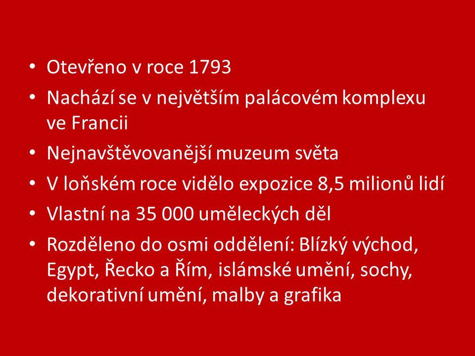 Otevřeno v roce 1793 Nachází se v největším palácovém komplexu ve Francii Nejnavštěvovanější muzeum světa V loňském roce vidělo expozice 8,5 milionů lidí Vlastní na 35 000 uměleckých děl Rozděleno do osmi oddělení: Blízký východ, Egypt, Řecko a Řím, islámské umění, sochy, dekorativní umění, malby a grafika