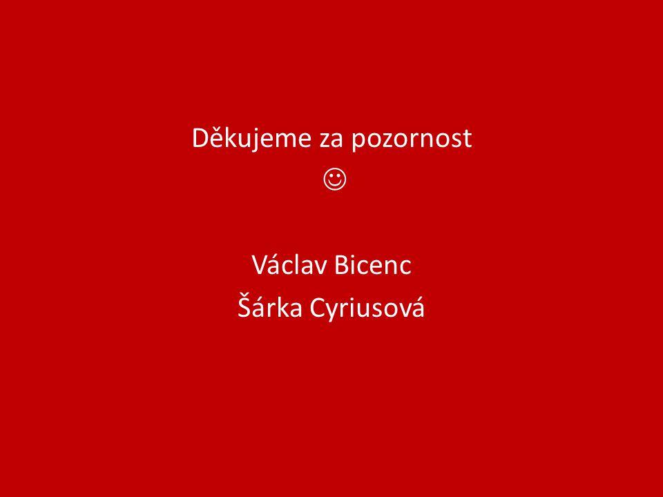 Děkujeme za pozornost Václav Bicenc Šárka Cyriusová