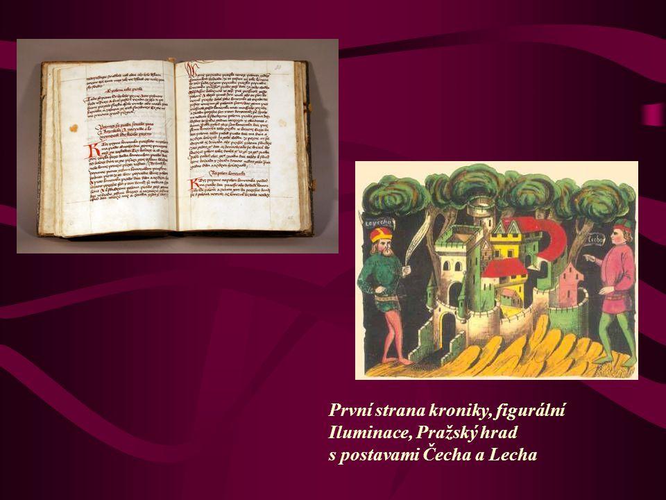 První strana kroniky, figurální Iluminace, Pražský hrad s postavami Čecha a Lecha