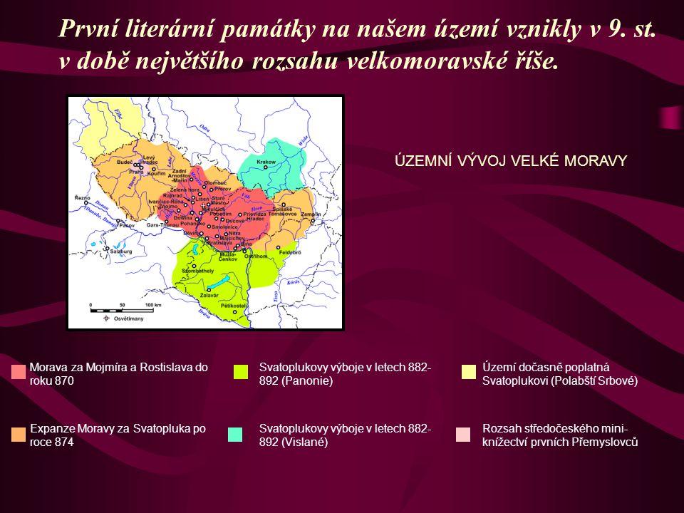 První literární památky na našem území vznikly v 9. st. v době největšího rozsahu velkomoravské říše. ÚZEMNÍ VÝVOJ VELKÉ MORAVY Morava za Mojmíra a Ro