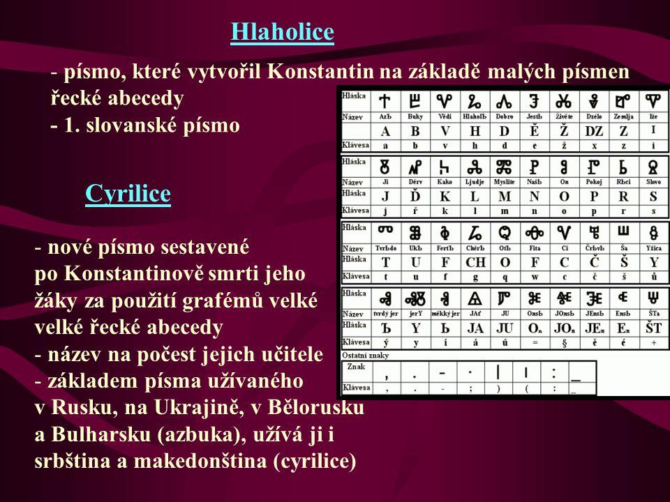 Hlaholice - písmo, které vytvořil Konstantin na základě malých písmen řecké abecedy - 1. slovanské písmo Cyrilice - nové písmo sestavené po Konstantin