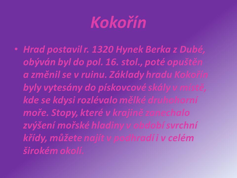 Kokořín Hrad postavil r. 1320 Hynek Berka z Dubé, obýván byl do pol. 16. stol., poté opuštěn a změnil se v ruinu. Základy hradu Kokořín byly vytesány