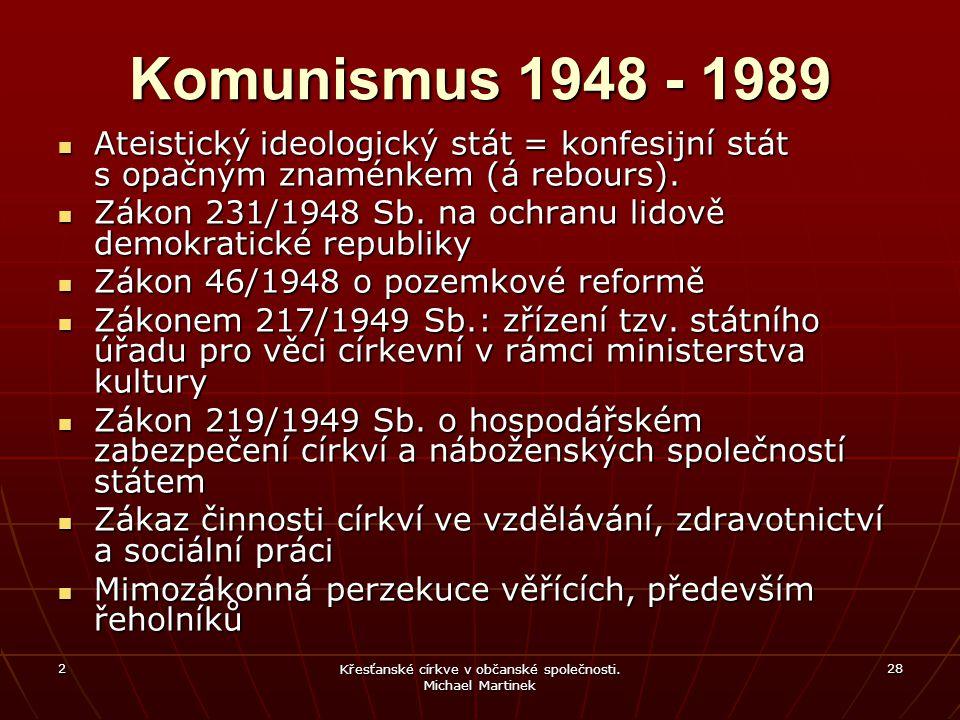 2 Křesťanské církve v občanské společnosti. Michael Martinek 28 Komunismus 1948 - 1989 Ateistický ideologický stát = konfesijní stát s opačným znaménk
