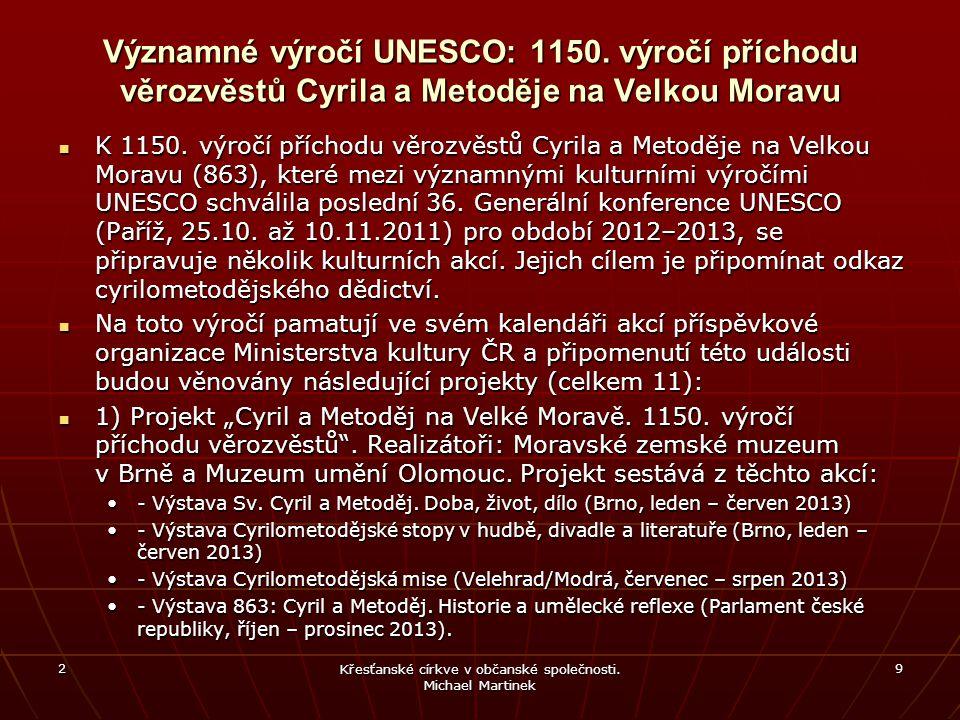 Významné výročí UNESCO: 1150. výročí příchodu věrozvěstů Cyrila a Metoděje na Velkou Moravu K 1150. výročí příchodu věrozvěstů Cyrila a Metoděje na Ve