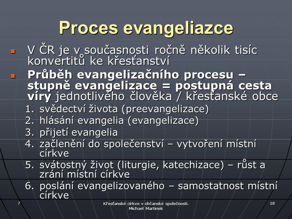 7 Křesťanské církve v občanské společnosti. Michael Martinek 18 Proces evangeliazce V ČR je v současnosti ročně několik tisíc konvertitů ke křesťanstv