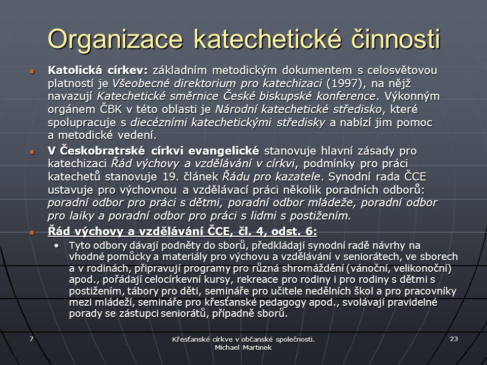 Organizace katechetické činnosti Katolická církev: základním metodickým dokumentem s celosvětovou platností je Všeobecné direktorium pro katechizaci (