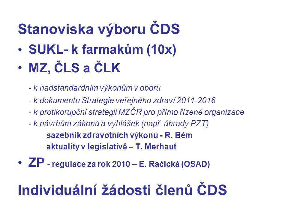 Stanoviska výboru ČDS SUKL- k farmakům (10x) MZ, ČLS a ČLK - k nadstandardním výkonům v oboru - k dokumentu Strategie veřejného zdraví 2011-2016 - k protikorupční strategii MZČR pro přímo řízené organizace - k návrhům zákonů a vyhlášek (např.
