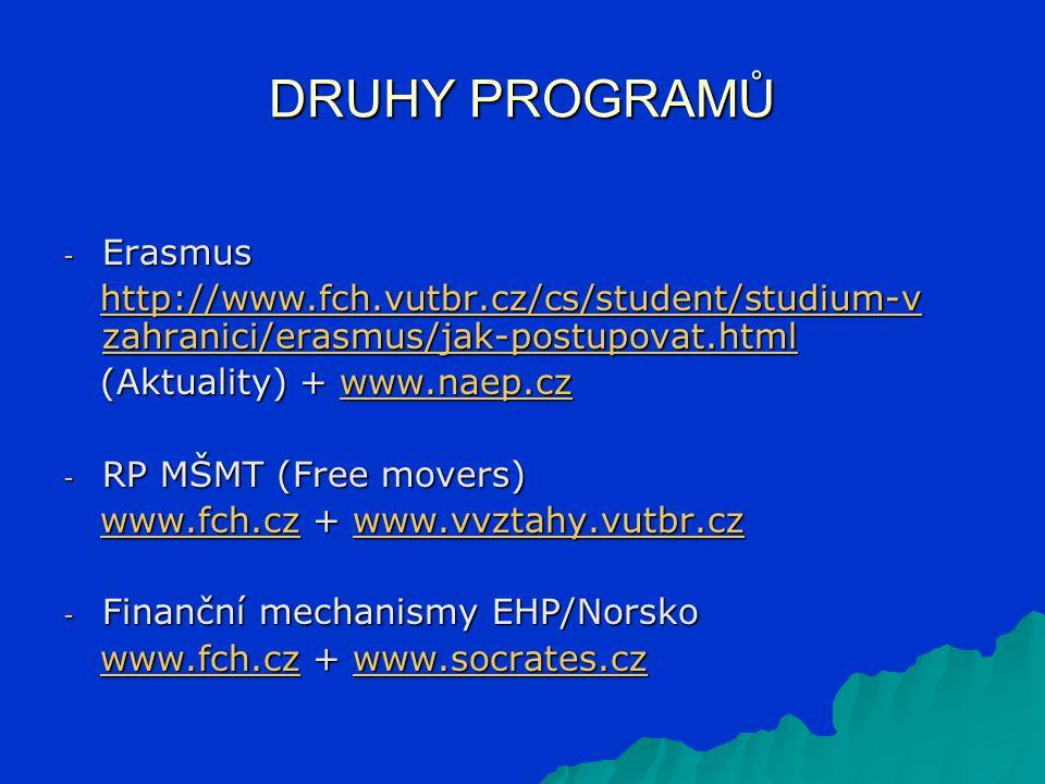 DRUHY PROGRAMŮ - Erasmus http://www.fch.vutbr.cz/cs/student/studium-v zahranici/erasmus/jak-postupovat.html http://www.fch.vutbr.cz/cs/student/studium