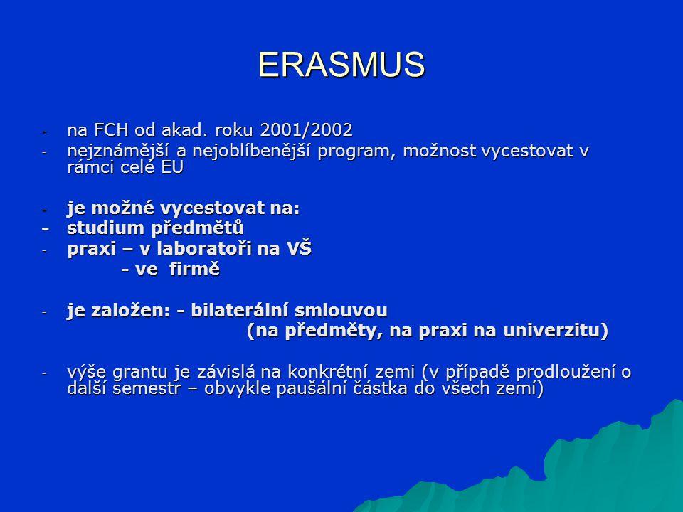 ERASMUS - na FCH od akad. roku 2001/2002 - nejznámější a nejoblíbenější program, možnost vycestovat v rámci celé EU - je možné vycestovat na: - studiu