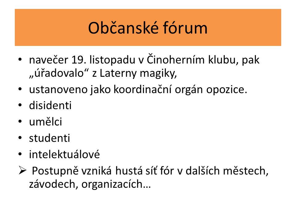 """Občanské fórum navečer 19. listopadu v Činoherním klubu, pak """"úřadovalo"""" z Laterny magiky, ustanoveno jako koordinační orgán opozice. disidenti umělci"""