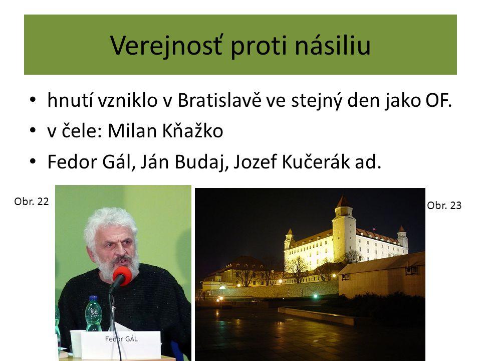 Verejnosť proti násiliu hnutí vzniklo v Bratislavě ve stejný den jako OF. v čele: Milan Kňažko Fedor Gál, Ján Budaj, Jozef Kučerák ad. Obr. 22 Obr. 23