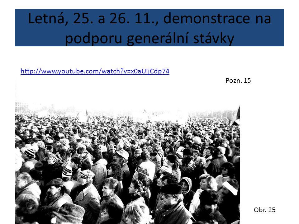 Letná, 25. a 26. 11., demonstrace na podporu generální stávky http://www.youtube.com/watch?v=x0aUIjCdp74 Obr. 25 Pozn. 15