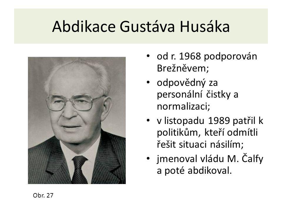 Abdikace Gustáva Husáka od r. 1968 podporován Brežněvem; odpovědný za personální čistky a normalizaci; v listopadu 1989 patřil k politikům, kteří odmí