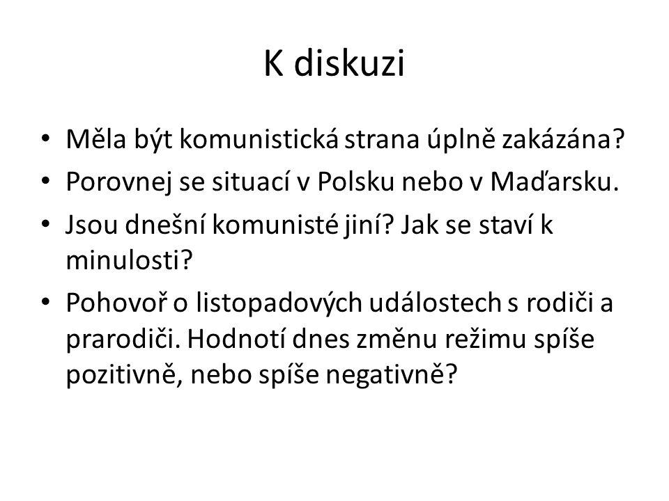 K diskuzi Měla být komunistická strana úplně zakázána? Porovnej se situací v Polsku nebo v Maďarsku. Jsou dnešní komunisté jiní? Jak se staví k minulo