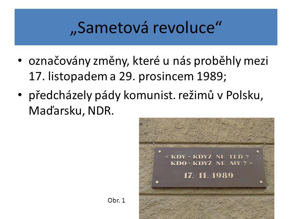 """""""Sametová revoluce"""" označovány změny, které u nás proběhly mezi 17. listopadem a 29. prosincem 1989; předcházely pády komunist. režimů v Polsku, Maďar"""