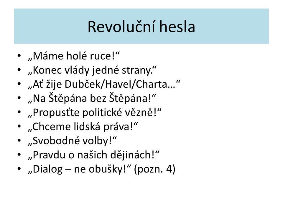 """Revoluční hesla """"Máme holé ruce!"""" """"Konec vlády jedné strany."""" """"Ať žije Dubček/Havel/Charta…"""" """"Na Štěpána bez Štěpána!"""" """"Propusťte politické vězně!"""" """"C"""