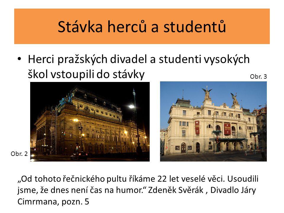 """Stávka herců a studentů Herci pražských divadel a studenti vysokých škol vstoupili do stávky Obr. 2 """"Od tohoto řečnického pultu říkáme 22 let veselé v"""