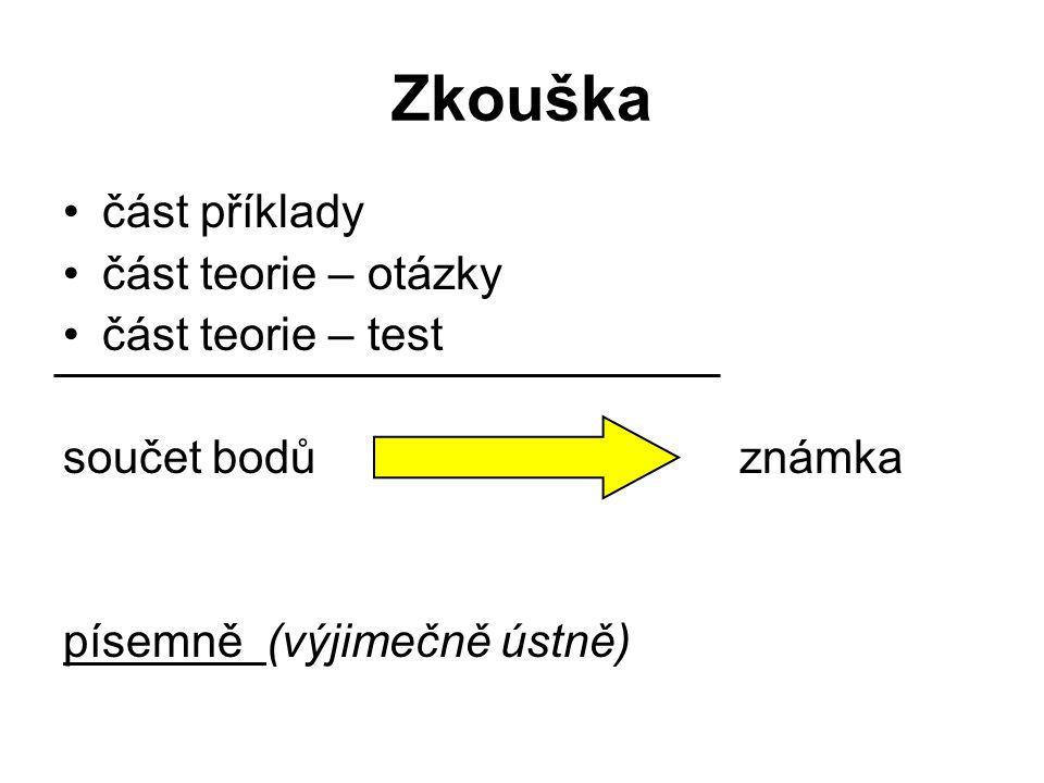 Zkouška část příklady část teorie – otázky část teorie – test součet bodů známka písemně (výjimečně ústně)