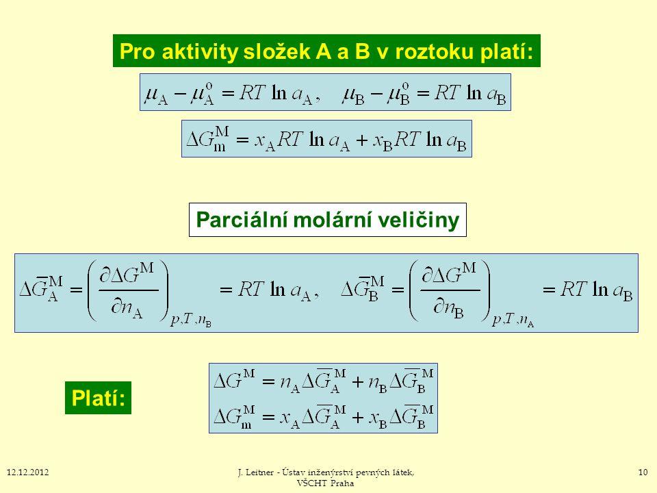 1012.12.2012J. Leitner - Ústav inženýrství pevných látek, VŠCHT Praha Parciální molární veličiny Platí: Pro aktivity složek A a B v roztoku platí: