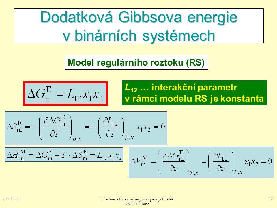 1612.12.2012J. Leitner - Ústav inženýrství pevných látek, VŠCHT Praha Dodatková Gibbsova energie v binárních systémech Model regulárního roztoku (RS)