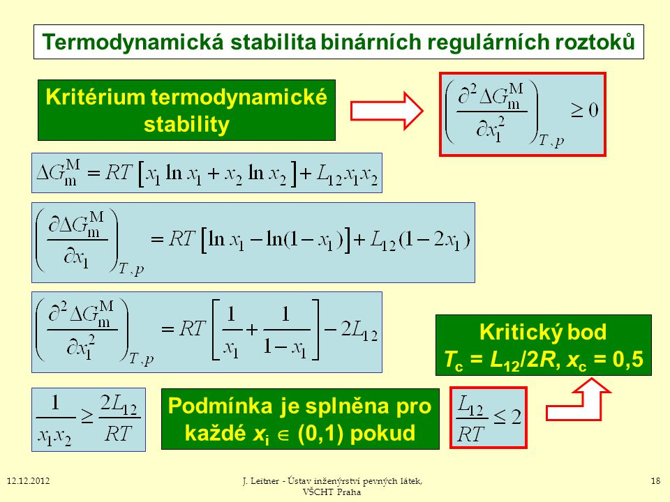 1812.12.2012J. Leitner - Ústav inženýrství pevných látek, VŠCHT Praha Termodynamická stabilita binárních regulárních roztoků Kritérium termodynamické