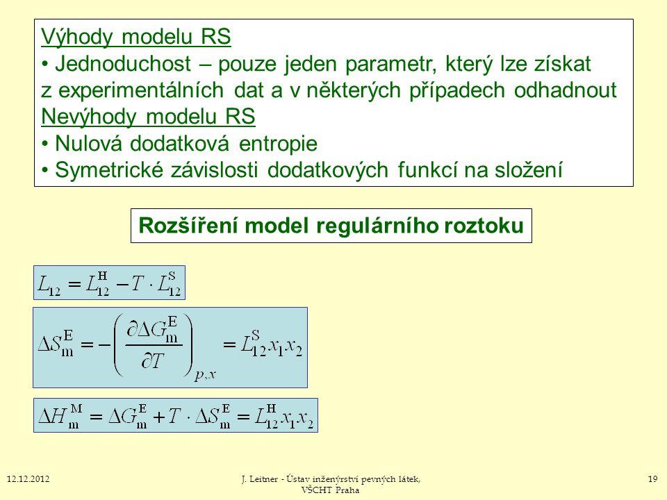 1912.12.2012J. Leitner - Ústav inženýrství pevných látek, VŠCHT Praha Rozšíření model regulárního roztoku Výhody modelu RS Jednoduchost – pouze jeden