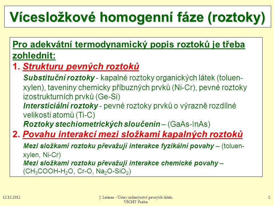 212.12.2012J. Leitner - Ústav inženýrství pevných látek, VŠCHT Praha Vícesložkové homogenní fáze (roztoky) Pro adekvátní termodynamický popis roztoků