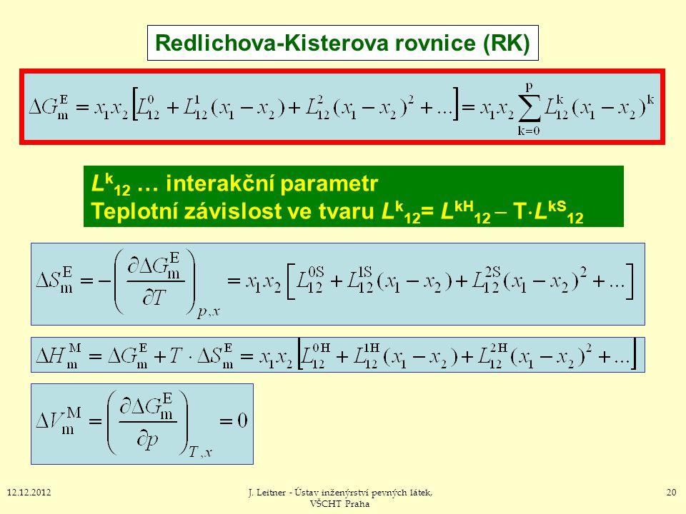 2012.12.2012J. Leitner - Ústav inženýrství pevných látek, VŠCHT Praha Redlichova-Kisterova rovnice (RK) L k 12 … interakční parametr Teplotní závislos