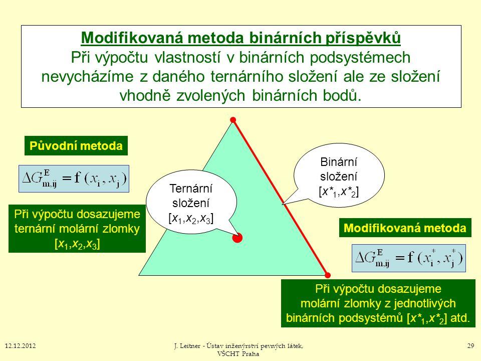 2912.12.2012J. Leitner - Ústav inženýrství pevných látek, VŠCHT Praha Modifikovaná metoda binárních příspěvků Při výpočtu vlastností v binárních podsy