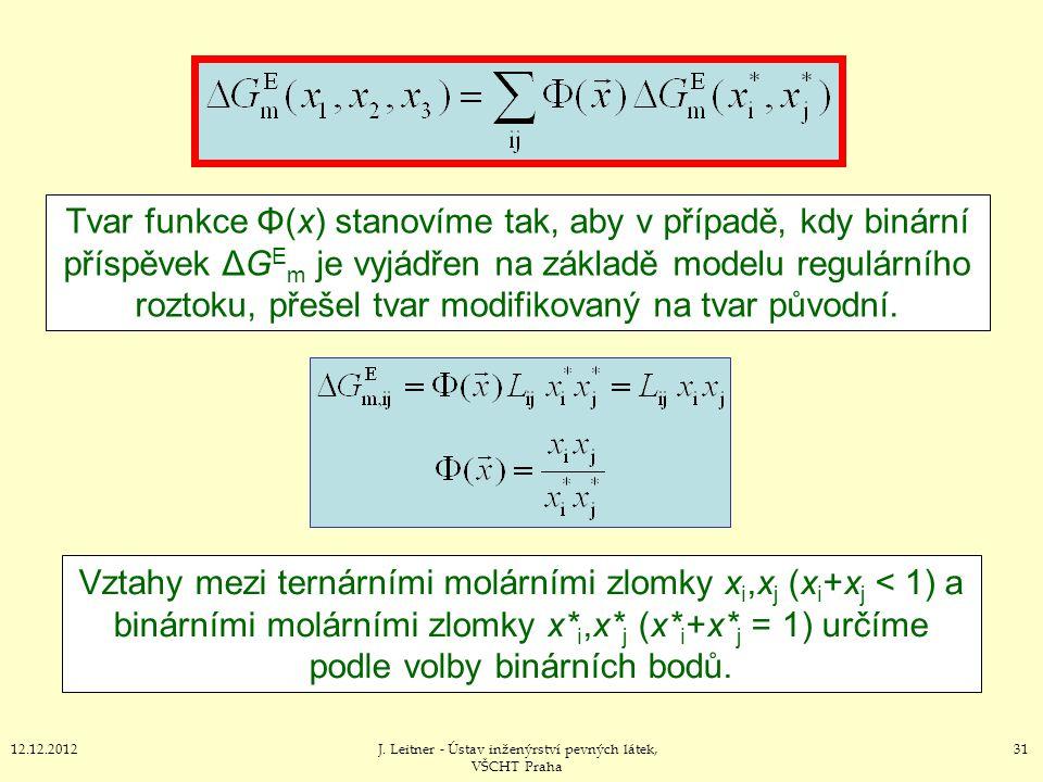 3112.12.2012J. Leitner - Ústav inženýrství pevných látek, VŠCHT Praha Tvar funkce Φ(x) stanovíme tak, aby v případě, kdy binární příspěvek ΔG E m je v