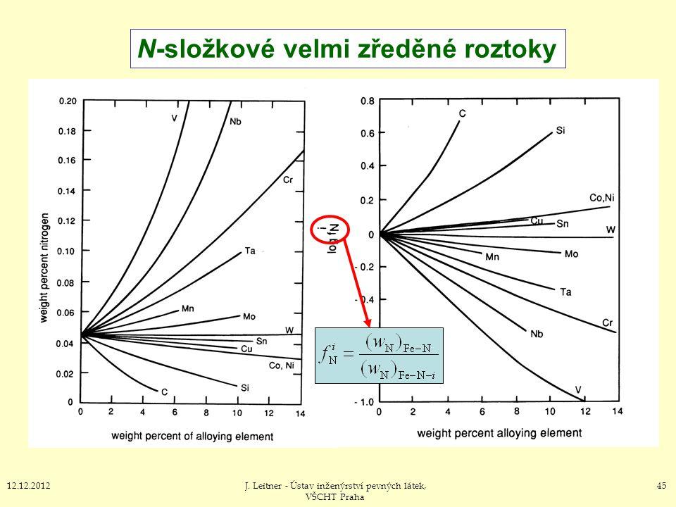 4512.12.2012J. Leitner - Ústav inženýrství pevných látek, VŠCHT Praha N-složkové velmi zředěné roztoky