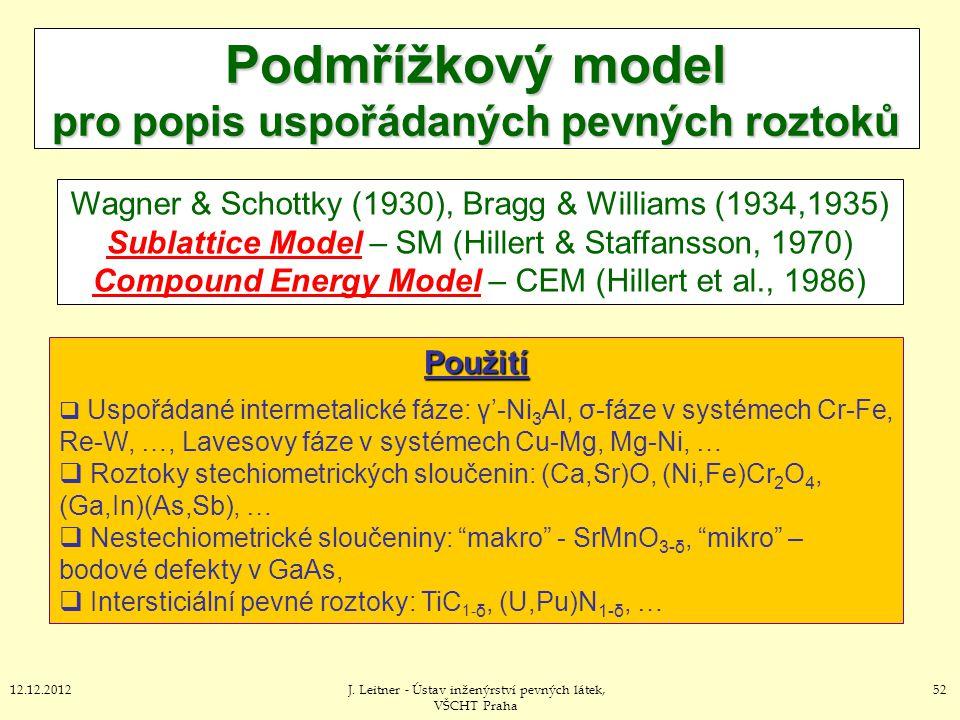 5212.12.2012J. Leitner - Ústav inženýrství pevných látek, VŠCHT Praha Podmřížkový model pro popis uspořádaných pevných roztoků Wagner & Schottky (1930