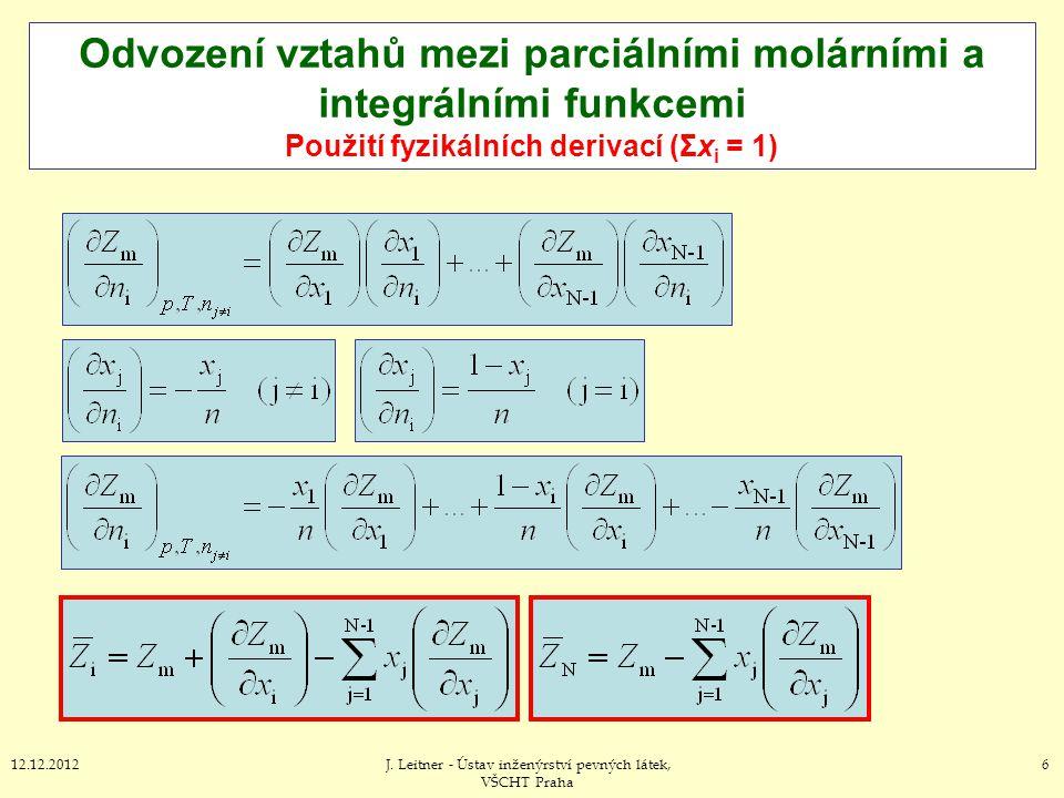6712.12.2012J.Leitner - Ústav inženýrství pevných látek, VŠCHT Praha IV.