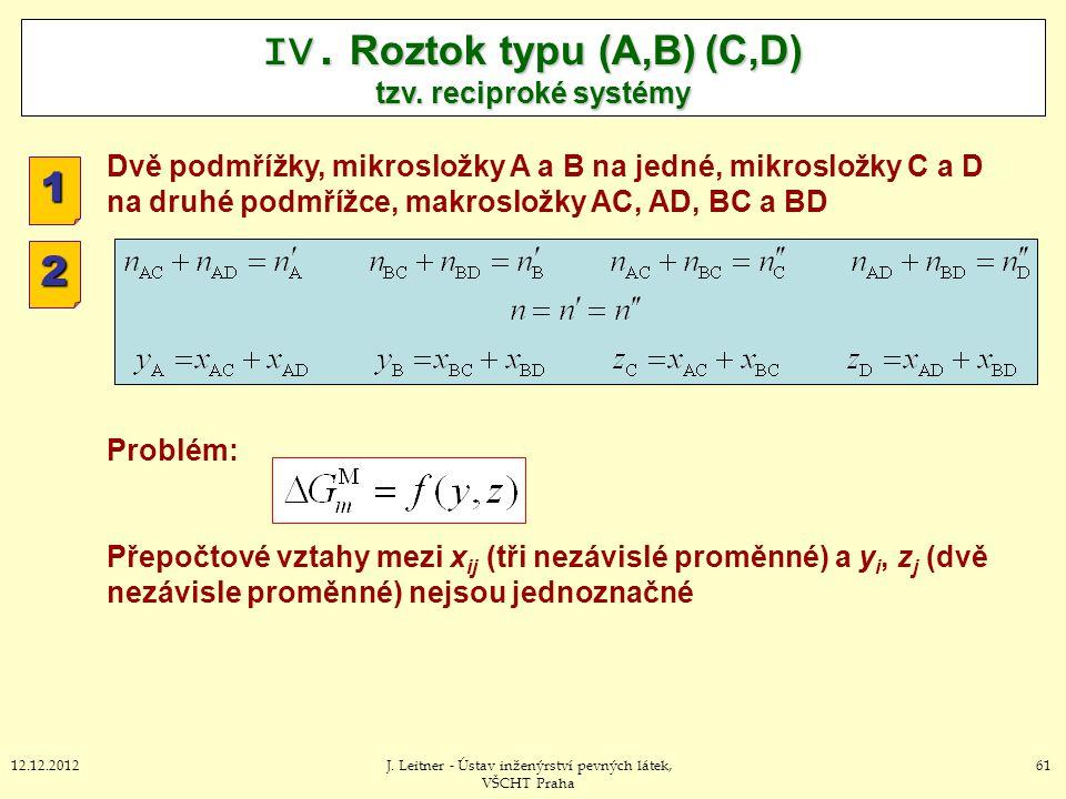6112.12.2012J. Leitner - Ústav inženýrství pevných látek, VŠCHT Praha IV. Roztok typu (A,B) (C,D) tzv. reciproké systémy 1 2 Dvě podmřížky, mikrosložk