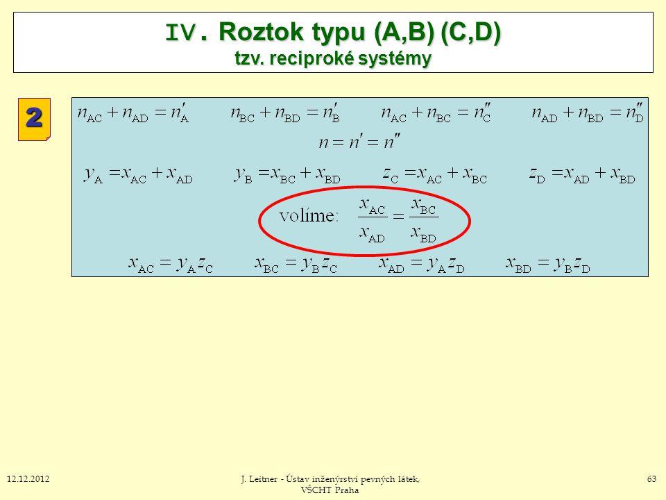 6312.12.2012J. Leitner - Ústav inženýrství pevných látek, VŠCHT Praha IV. Roztok typu (A,B) (C,D) tzv. reciproké systémy 2