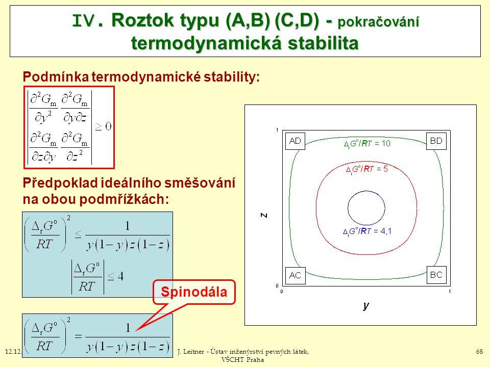 6812.12.2012J. Leitner - Ústav inženýrství pevných látek, VŠCHT Praha IV. Roztok typu (A,B) (C,D) - pokračování termodynamická stabilita Podmínka term