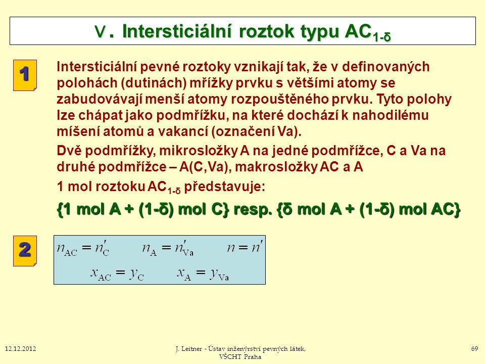 6912.12.2012J. Leitner - Ústav inženýrství pevných látek, VŠCHT Praha V. Intersticiální roztok typu AC 1-δ Intersticiální pevné roztoky vznikají tak,
