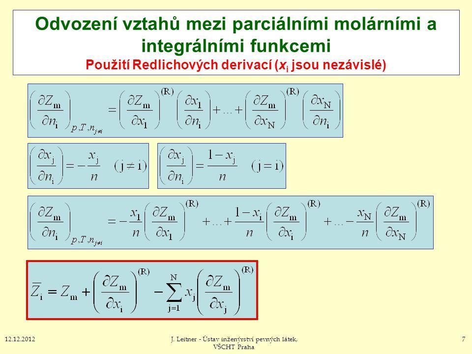 5812.12.2012J.Leitner - Ústav inženýrství pevných látek, VŠCHT Praha III.