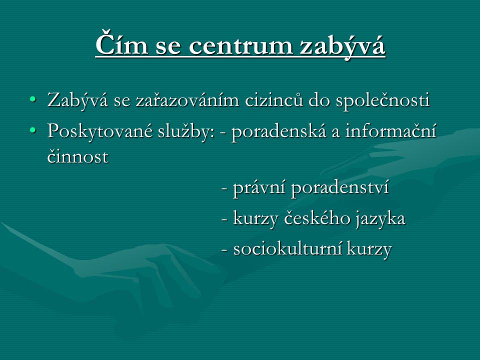 Čím se centrum zabývá Zabývá se zařazováním cizinců do společnostiZabývá se zařazováním cizinců do společnosti Poskytované služby: - poradenská a informační činnostPoskytované služby: - poradenská a informační činnost - právní poradenství - právní poradenství - kurzy českého jazyka - kurzy českého jazyka - sociokulturní kurzy - sociokulturní kurzy