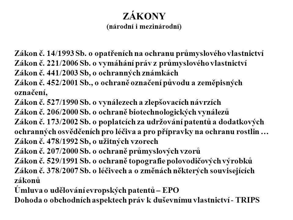 ZÁKONY (národní i mezinárodní) Zákon č. 14/1993 Sb. o opatřeních na ochranu průmyslového vlastnictví Zákon č. 221/2006 Sb. o vymáhání práv z průmyslov