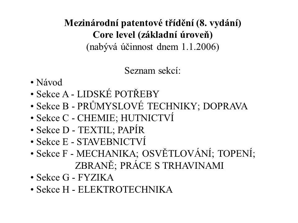Mezinárodní patentové třídění (8. vydání) Core level (základní úroveň) (nabývá účinnost dnem 1.1.2006) Seznam sekcí: Návod Sekce A - LIDSKÉ POTŘEBY Se