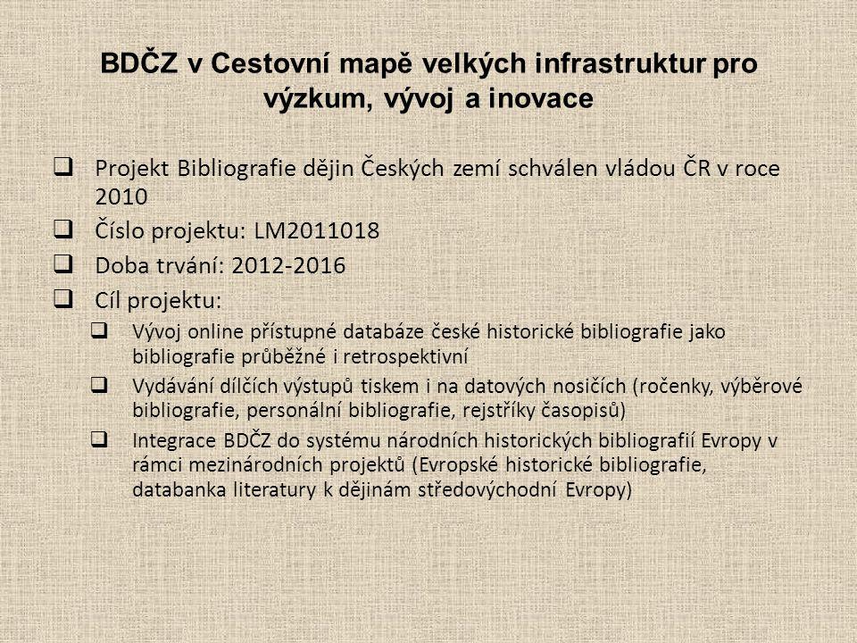 BDČZ v Cestovní mapě velkých infrastruktur pro výzkum, vývoj a inovace  Projekt Bibliografie dějin Českých zemí schválen vládou ČR v roce 2010  Číslo projektu: LM2011018  Doba trvání: 2012-2016  Cíl projektu:  Vývoj online přístupné databáze české historické bibliografie jako bibliografie průběžné i retrospektivní  Vydávání dílčích výstupů tiskem i na datových nosičích (ročenky, výběrové bibliografie, personální bibliografie, rejstříky časopisů)  Integrace BDČZ do systému národních historických bibliografií Evropy v rámci mezinárodních projektů (Evropské historické bibliografie, databanka literatury k dějinám středovýchodní Evropy)