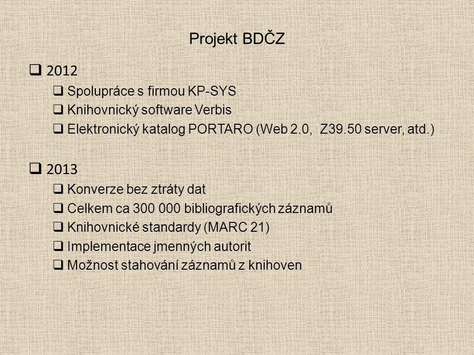 Projekt BDČZ  2012  Spolupráce s firmou KP-SYS  Knihovnický software Verbis  Elektronický katalog PORTARO (Web 2.0, Z39.50 server, atd.)  2013  Konverze bez ztráty dat  Celkem ca 300 000 bibliografických záznamů  Knihovnické standardy (MARC 21)  Implementace jmenných autorit  Možnost stahování záznamů z knihoven