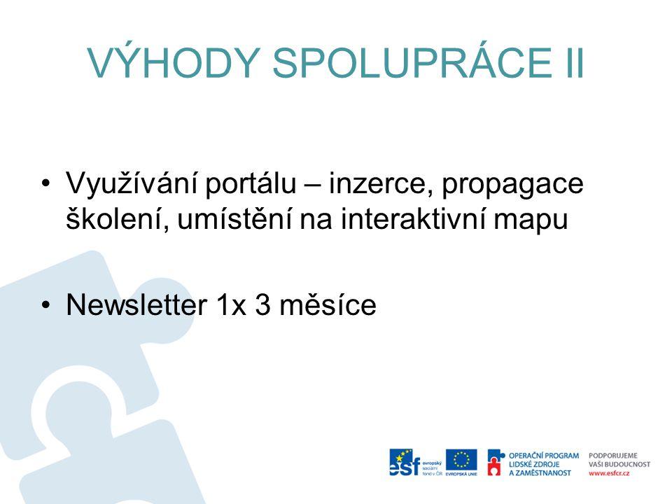 VÝHODY SPOLUPRÁCE II Využívání portálu – inzerce, propagace školení, umístění na interaktivní mapu Newsletter 1x 3 měsíce